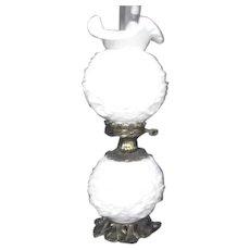 Fenton Poppy Double Globe White Lamp