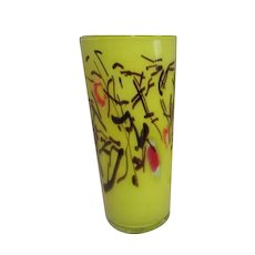 Tall Art Glass Vase Bright Yellow with Brown & Red