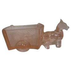 Jeannette Candy Container Donkey and Cart in Pink