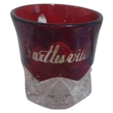 Duncan Miller Buttons and Arches Souvenir Cup from Bartlesville I.T.