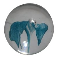 Art Glass Paper Weight with Blue Iris