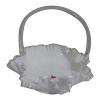 Fenton Milk Glass Silver Crest Edging Basket