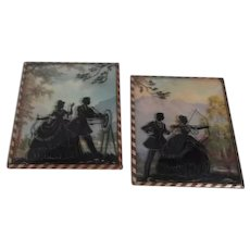 Benton Glass Company Pair of Silhouettes of a Couple Engaging in Archery