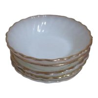 Set of 5 Anchor Hocking/Fire King Berry/Sauce/Dessert Bowls White with Gold Trim