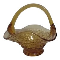 Fenton Basket Weave Amber Colored Glass Basket with Applied Handle