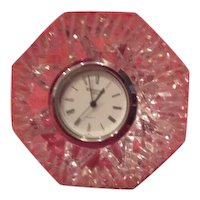 Waterford Cut Crystal Diamond Shaped Lismore Quartz Clock Paperweight