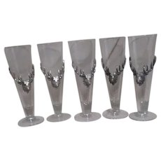 Arthur Court Set of 5 Glass Pilsners One Beer Size with Aluminum Stag on Front