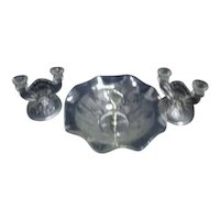 Jeanette Glass Company Iris and Herringbone Pattern Serving Bowl and Pair of Candlesticks