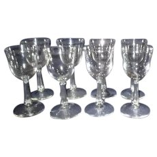 Set of 8 Libbey Clear Glass Wine Goblets