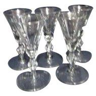 Set of 5 Libbey Georgian Sherry Goblets/Glasses