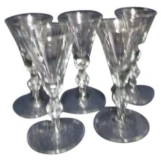 Set of 5 Libbey Georgian Sherry Goblets/Glasses