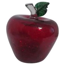 Red Crackle Glass Blown Art Glass Apple
