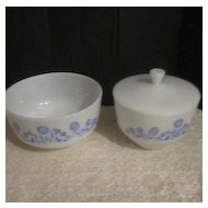"""Vintage Mixing Bowl and Covered Bowl """"Cornflower Pattern"""" by the Federal Glass Company"""