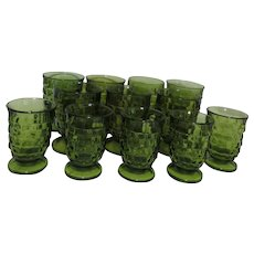 Colony Whitehall Green Glass 9 Footed Tumblers and 6 Footed Juice Glasses