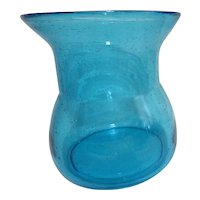 Large Aqua Blue Art Glass Vase with Bubbles Floating Throughout