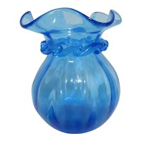 Blue Blown Art Glass Vase with Applied Trim and Ruffled Top