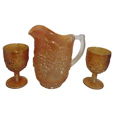 Imperial Glass Carnival/Grape Marigold Pitcher and 2 Water Goblets