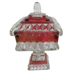Red Flash Square Candy Dish with Lid