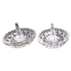 Set of 2 Clear Glass Ring Holders