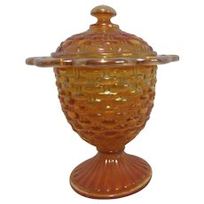 Marigold Iridescent Glass Footed Covered Candy Dish