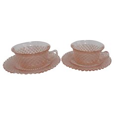 Hocking Miss America Pattern Pink Set of 2 Cups and Saucer