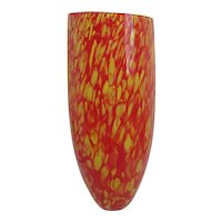 Tall Art Glass Blown Vase Yellow Orange Red