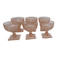 Anchor Hocking Miss America Pattern Pink Depression Glass Footed Sherbet Bowls Set of 6