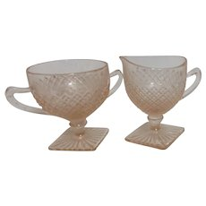 Anchor Hocking Miss America Pattern Pink Depression Glass Sugar and Creamer
