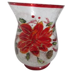 Crackle Glass Vase with Poinsettia and Ribbons