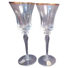 Mikasa Jamestown Clear with Gold Trim Wine Goblets Set of 2