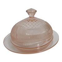 Child's Pink Glass Round Covered Butter Dish