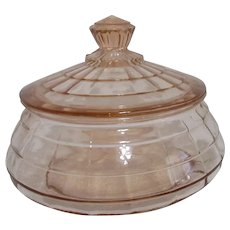 Pink Depression Glass Lidded Powder Jar