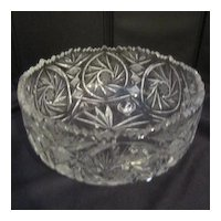 Vintage Hand-cut Clear Crystal Footed Bowl