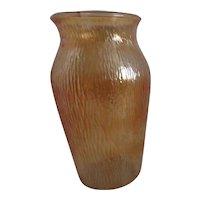 Jeannette Marigold Carnival Glass Tree Bark Pattern Vase