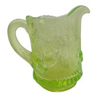 Uranium Florescent Green Glass Pitcher with Cherry Cluster Bas-Relief