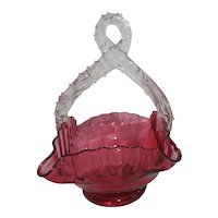 Victorian Cranberry Blown Glass Basket with Clear Applied Handle