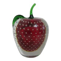 Murano Glass Apple Paperweight Red with Clear Overlay