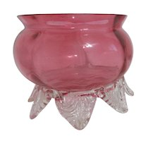Victorian Cranberry Glass Bowl with Applied Clear Leaf Design Feet