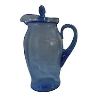 Blue Depression Glass Pitcher with Lid
