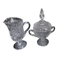 Crystal Set of Creamer and Covered Sugar with Etched Roses