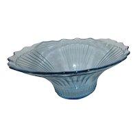 Hocking Mayfair/ Blue Open Rose Pattern Glass Fruit Bowl