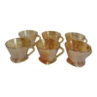 Set of 6 Cups Jeannette Floragold Iridescent Glass