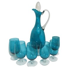 Teal Glass Decanter with 6 Glasses