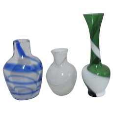 Set of 3 Small Blown Art Glass Vases