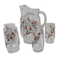 Anchor Hocking Red Roses  (newer) Pattern Set of Pitcher with 4 Glasses