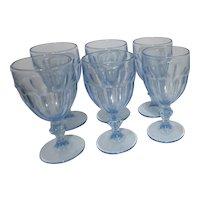 Libby Glass Gibraltar Mist Blue Set of 6 Water Goblets