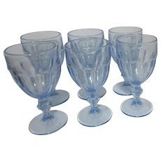 Libby Glass Gibraltar Mist Blue Set of 6 Water Goblets