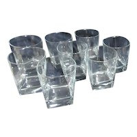 """Cristal D'Arques Durand Set of 8 Glasses """"Sterling"""" Pattern Double Whiskey Size"""