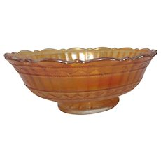 Carnival Glass Marigold Footed Bowl with Scalloped Rim