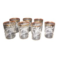 "Set of 7 Wheat Pattern 4"" High Gold Trim Glasses"